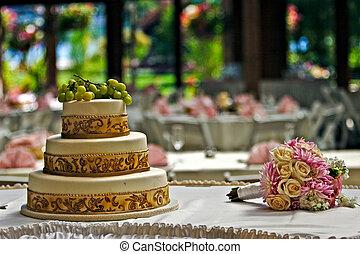 pastel, y, un, ramo