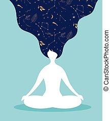 pastel, yoga, siddende, vinhøst, -, farver, kryds, baggrund, meditating., mindfulness, meditation, ben, kvinder