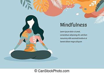 pastel, yoga, siddende, vinhøst, -, illustration, farver, vektor, kryds, baggrund, meditating., mindfulness, meditation, ben, kvinder