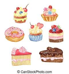 pasteles, acuarela, dulce, conjunto