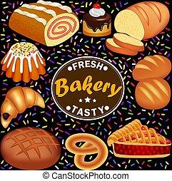pasteles, barra, sabroso, fresco, conjunto, pastel, rollo,...