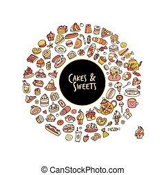 pasteles, colección, bosquejo, dulces, diseño, su