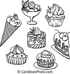 Pasteles, Conjunto, Ilustración, mano, vector, dibujado,...