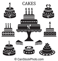 pasteles, cumpleaños, boda