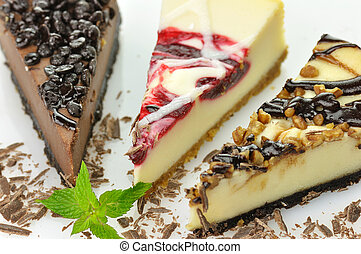 pasteles de queso, rebanadas