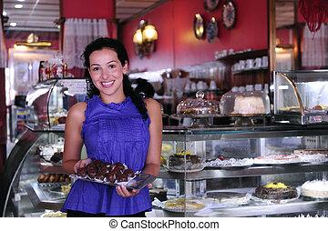 pasteles, ella, empresa / negocio, actuación, dueño, sabroso, pequeño, tienda