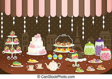 pasteles, exhibición, tienda