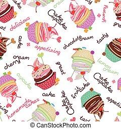 pasteles, plano de fondo, cupcakes., compuesto, seamle, ...