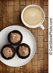 pasteles, taza, de madera, café, chocolate, plano de fondo, hada
