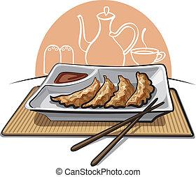 pastelitos, frito, chino