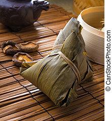 pastelitos, tomado, zongzi, durante, ocasión, fiesta, generalmente, chino