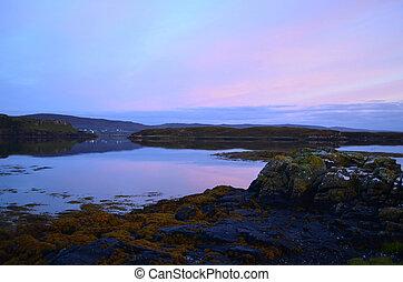 pastell,  över, skottland,  Dunvegan, sjö,  Skies