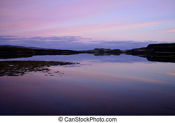 pastell,  över,  sky,  Dunvegan, sjö, Soluppgång