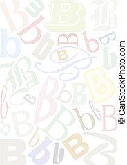 pastell, b, colorato, lettera