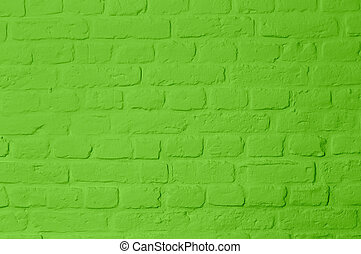 Pastell bright green colored brickstone wall, full frame,...