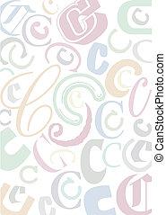 pastell, c, colorato, lettera