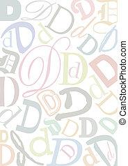 pastell, colorato, lettera, d