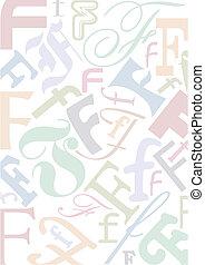 pastell, colorato, lettera f