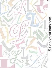 pastell, colorato, lettera l