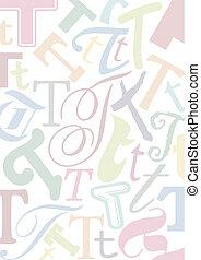 pastell, colorato, lettera, t