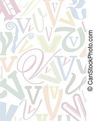 pastell, colorato, lettera, v