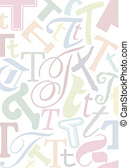 pastell colored letter T - background with the letter T in...