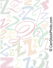 pastell colored letter Z - background with the letter Z in...