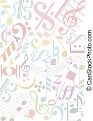 pastell colroed music signs - background with pastell...