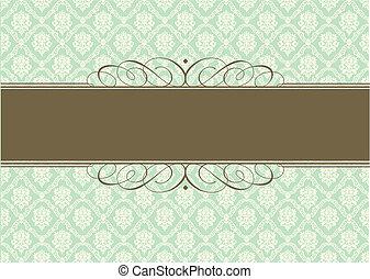 pastell, dekorativ, rahmen, vektor, grüner hintergrund