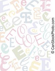 pastell, e, colorato, lettera