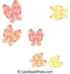 pastell, färgad, mönster, abstrakt, Fjärilar, vit