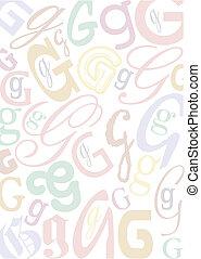 pastell, g, lettera, colorato