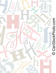 pastell, h, colorato, lettera