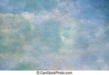 pastell, himmelsgewölbe, mond