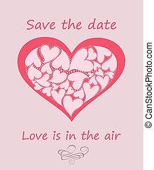 pastell, hjärta, bröllop, hälsning, form, inbjudan, hjärtan, kort