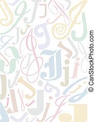 pastell, j, colorato, lettera