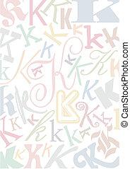 pastell, k, colorato, lettera