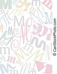 pastell, m, colorato, lettera