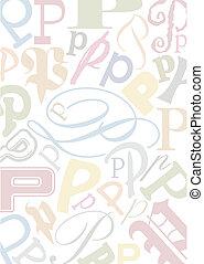 pastell, p, colorato, lettera