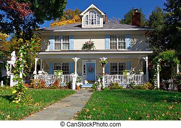 pastell, stil, familj, hus, höst, singel, prärie