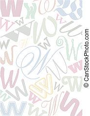 pastell, w, lettera, colorato