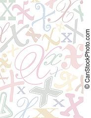 pastell, x, colorato, lettera