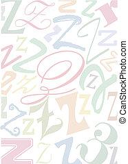 pastell, z, colorato, lettera