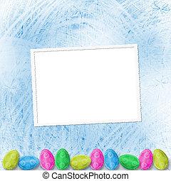 pastellhintergrund, mit, färbte eier, feiern, ostern