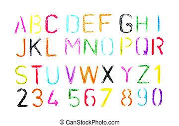 pastello, alfabeto, disegnato