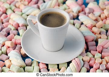 pastello, caffè, colorato, cup., cima, marshmallow, fondo, vista