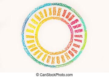 pastello, cima colorita, disegnato, cerchio, gessi, vista