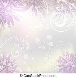 pastello colorato, fondo, con, fiori viola