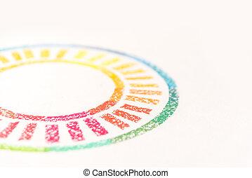 pastello colorato, foto, raccolto, gessi, disegnato, cerchio