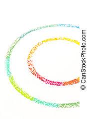 pastello, colorito, foto, gessi, due, raccolto, disegnato, cerchio